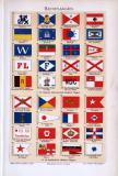 Chromolithographie aus 1893 zeigt 36 Hausflaggen in farbiger Darstellung.
