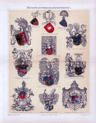 Chromolithographie aus 1893 zeigt die Entwicklung der Wappenkunst in der Heraldik.