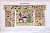 Chromolithographie aus 1893 zeigt Hieroglyphische inschriften und Reliefdarstellungen aus dem Grab des Rahotep in Medum.
