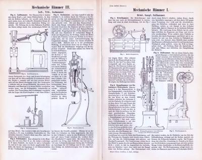 Technische Abhandlung aus 1893 mit Illustrationen zum Thema Mechanische Hämmer.