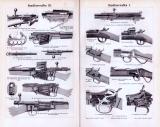 Stich aus 1893 zeigt verschiedene Handfeuerwaffen und technische Illustrationen dazu.