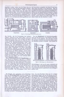 Technische Abhandlung aus 1893 mit Illustrationen zum Thema Heizungsanlagen.