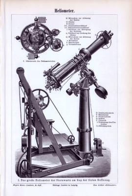 Stich aus 1893 zeigt den Aufbau von Heliometern am Beispiel der Sternwarte am Kap der Guten Hoffnung.