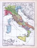 Farbige Illustration eine historisch politischen Landkarte Italiens bis in die Zeit von Kaiser Augustus.