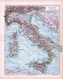 Farbige Illustration einer Landkarte Italiens im Maßstab 1 zu 4.500.000 aus dem Jahr 1893.