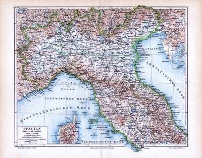 Farbige Illustration einer Landkarte aus 1893 der Nordhälfte Italiens. Maßstab 1 zu 2.500.000.