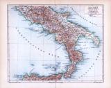 Farbig illustrierte Landkarte der Südlichen Hälfte Italiens von 1893. Maßstab 1 zu 2.500.000.