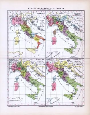 4 farbig illustrierte Landkarten zur Geschichte Italiens aus 1893.