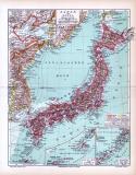 Farbig illustrierte Landkarte von Japan und Korea aus 1893. Maßstab 1 zu 8.000.000.