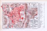 Farbig illustrierter Stadtplan von Jerusalem aus 1893 im Maßstab 1:12.000.