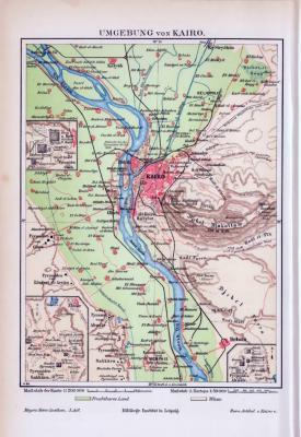 Farbig illustrierte Landkarte der Umgebung von Kairo aus 1893 im Maßstab von 1 zu 200.000.
