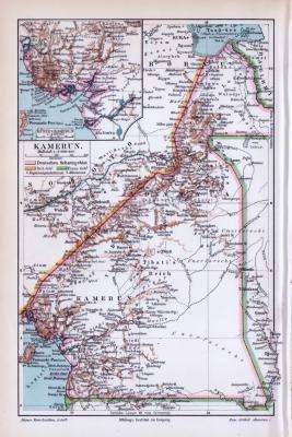 Farbig illustrierte Landkarte von Kamerun aus 1893. Maßstab 1 zu 6.000.000.