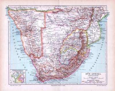 Farbig illustrierte Landkarte von Südafrika und den Kapkolonien aus 1893. Maßstab 1 zu 10.000.000.