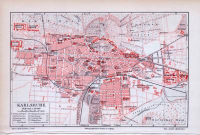 Farbig illustrierter Stadtplan von Karlsruhe aus 1893 im Maßstab 1:20.000.