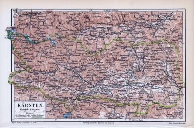 Farbige Landkarte von Kärnten aus 1893 im Maßstab 1 zu 850.000.