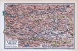 Farbige Landkarte von Kärnten aus 1893 im Maßstab 1 zu...