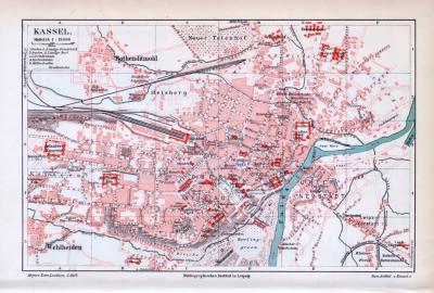 Farbig illustrierter Stadtplan von Kassel aus 1893 im Maßstab 1 : 18.000.