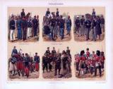 Chromolithographie aus 1893 zeigt Infanterieeinheiten und...