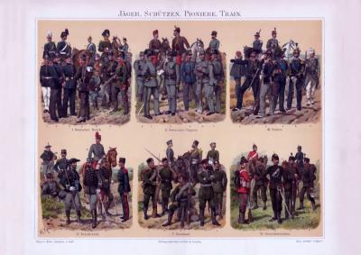 Chromolithographie aus 1893 zeigt 6 verschiedene Armeeeinheiten und deren Uniformen aus 6 europäischen Ländern.