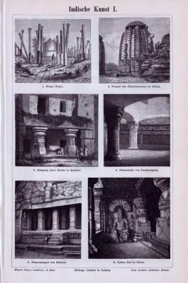 Stich aus 1893 zeigt verschiedene Skulpturen und Bauwerke aus der indischen Kultur.