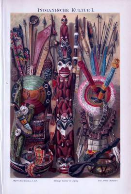 Chromolithographie aus 1893 zeigt Objekte aus indianischer Kunst und Kultur.