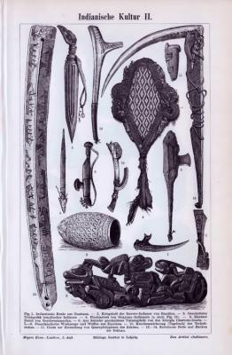 Stich aus 1893 zeigt Objekte aus indianischer Kunst, Kultur und Handwerk.