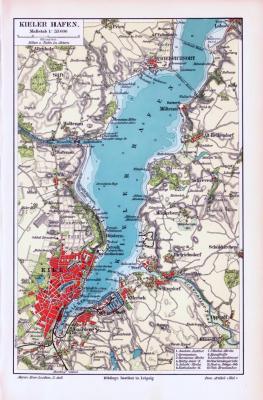 Farbig illustrierte Landkarte des Kieler Hafens von 1893. Im Maßstab 1 zu 55.000.