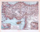 Farbig illustrierte Landkarte von Kleinasien aus1893. Im Maßstab 1 zu 5.000.000.
