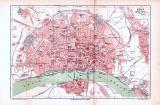 Farbig illustrierter Stadtplan von Köln aus 1893. Im...