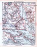 Farbig illustrierte Landkarten deutscher Kolonien aus 1893.