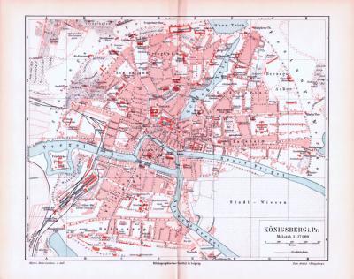 Farbig illustrierter Stadtplan von Königsberg aus 1893. Im Maßstab 1 zu 17.000.