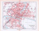 Farbig illustrierter Stadtplan von Königsberg aus 1893....