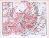 Farbig illustrierter Stadtplan von Kopenhagen aus 1893. Im Maßstab 1 zu 21.500.