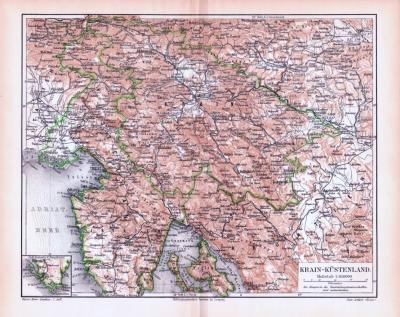 Farbig illustrierte Landkarte des Krain Küstenlandes aus 1893 im Maßstab 1 zu 850.000.