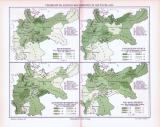 Farbig illustrierte Landkarten zur Verbreitung von...