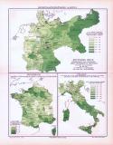 Farbig illustrierte Landkarten zur Kriminalstatistik  in Deutschland, Frankreich und Italien aus 1893.