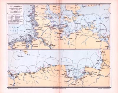 2 farbig illustrierte Landkarten zeigen die Verteilung der Leuchtfeuer in der Seefahrt aus 1893.
