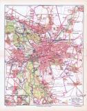 """""""Farbig illustrierter stadtplan von Leipzig mit seinen Vororten aus 1893 im Maßstab 1 zu 40.000."""
