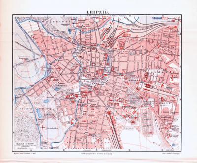 Farbig illustrierter Stadtplan von Leipzig aus 1893. Im Maßstab 1 zu 20.000.