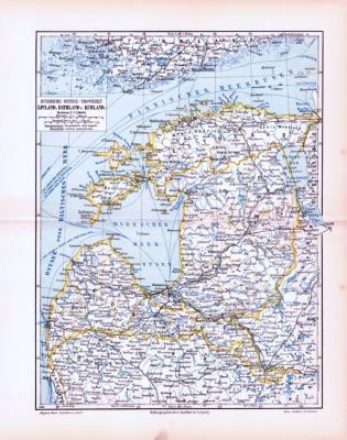 """""""Farbig illustrierte Landkarten zur des Baltikums aus 1893 im Maßstab 1 zu 2.250.000."""