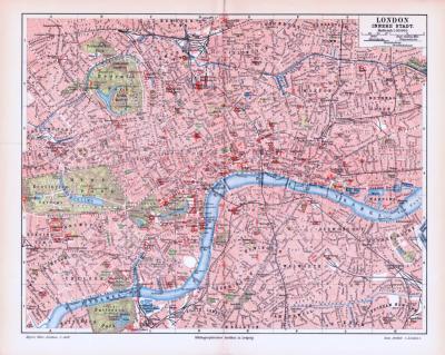 Farbig illustrierter Stadtplan von London aus 1893. Im Maßstab 1 zu 35.000.