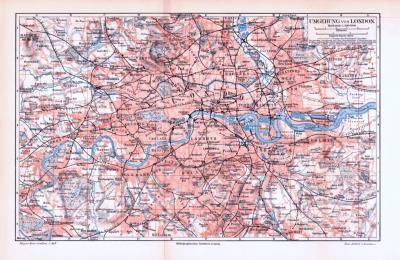 Farbig illustrierter Stadtplan von London und Umgebung aus 1893. Im Maßstab 1 zu 100.000.
