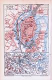 Farbig illustrierter Stadtplan von Lübeck und Umgebung aus 1893. Im Maßstab 1 zu 20.000 und 1 zu 250.000.