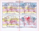 4 farbig illustrierte Weltkarten aus 1893 zeigen jahreszeitliche Temperaturverteilung.