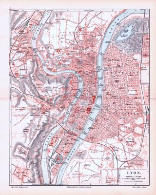 Farbig illustrierter Stadtplan von Lyon aus 1893. Im Maßstab 1 zu 22.500.