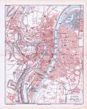 Farbig illustrierter Stadtplan von Lyon aus 1893. Im...