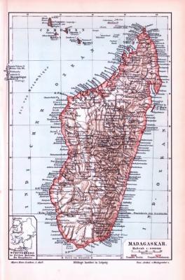 Farbig illustrierte Landkarte von Madagaskar aus 1893 im Maßstab 1 zu 8.000.000.