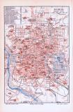 Farbig illustrierter Stadtplan von Madrid aus 1893. Im Maßstab 1 zu 29.000.