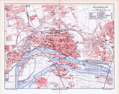 Farbig illustrierter Stadtplan von Magdeburg aus 1893. Im Maßstab 1 zu 20.500.