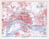 Farbig illustrierter Stadtplan von Magdeburg aus 1893. Im...